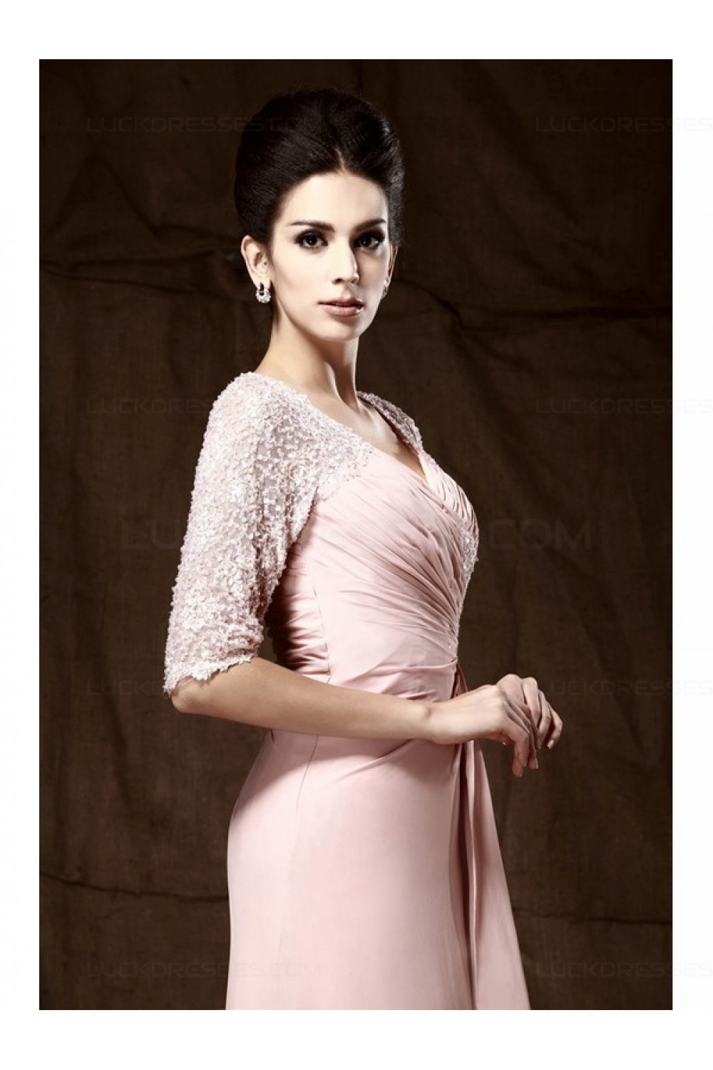 Long Pink Lace Chiffon Half Sleeves Floor Length Mother Of