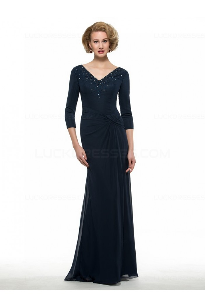 3/4 Length Sleeves V-Neck Chiffon Mother of The Bride Dresses 3040011