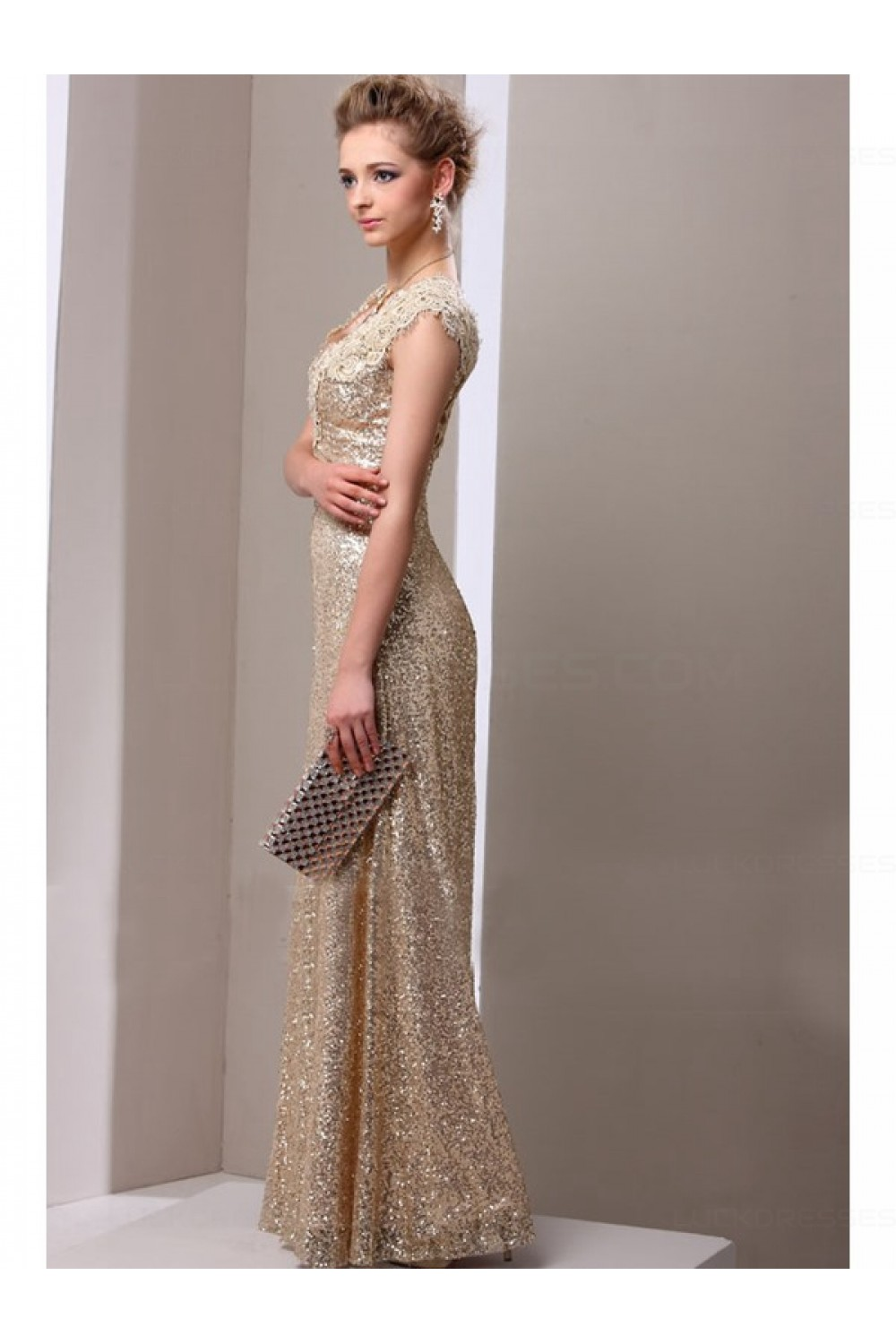 Sheath Gold Sequins Lace V Neck Long Mother Of The Bride