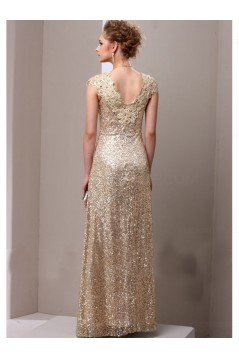 Sheath Gold Sequins Lace V-Neck Long Mother of The Bride Dresses 3040014