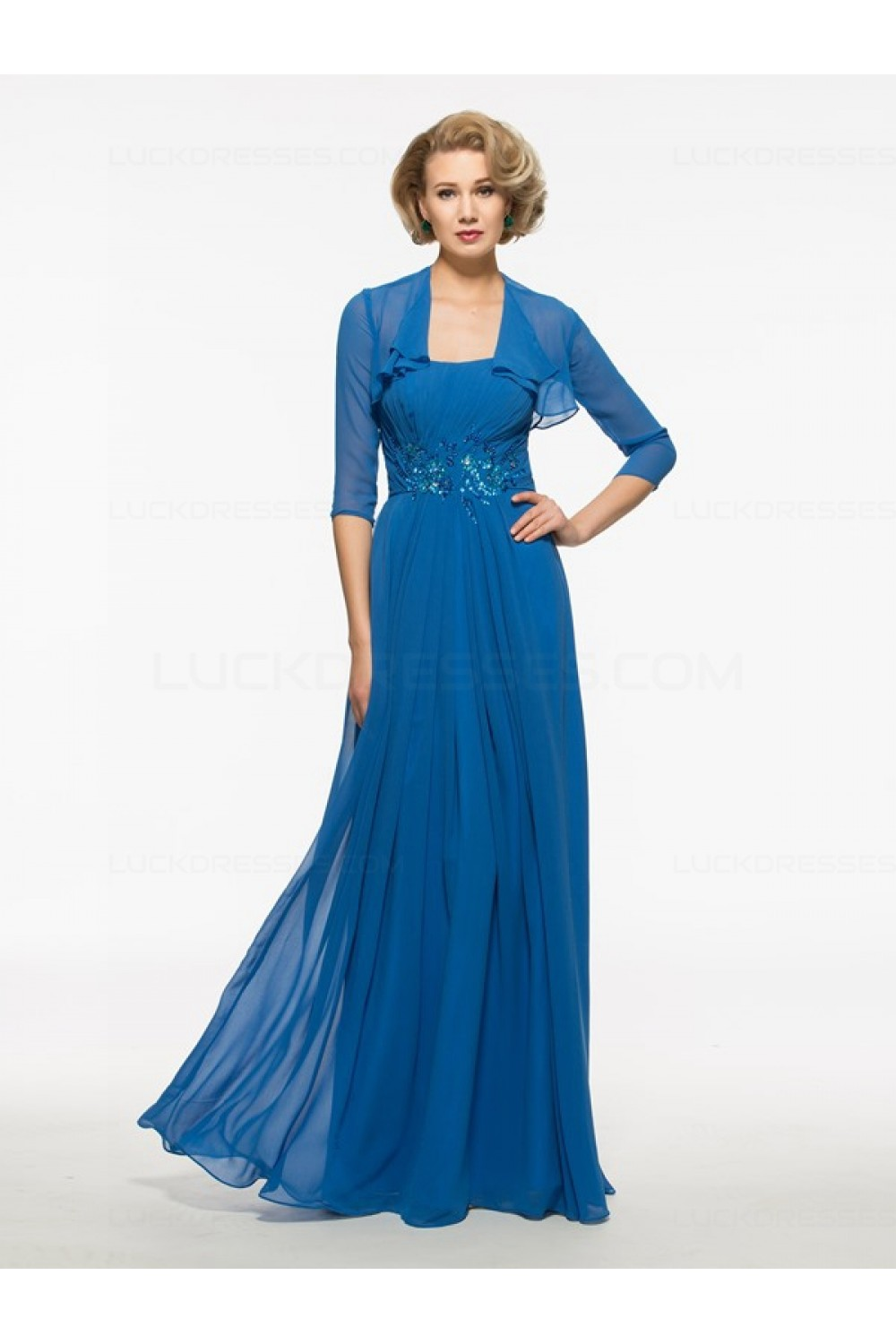 Long Blue Chiffon Mother of The Bride Dresses with A Jacket 3040015