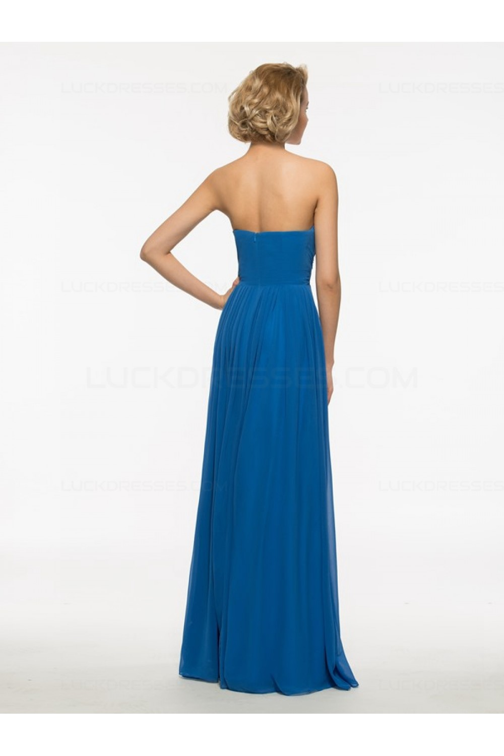 Long Blue Chiffon Mother Of The Bride Dresses With A