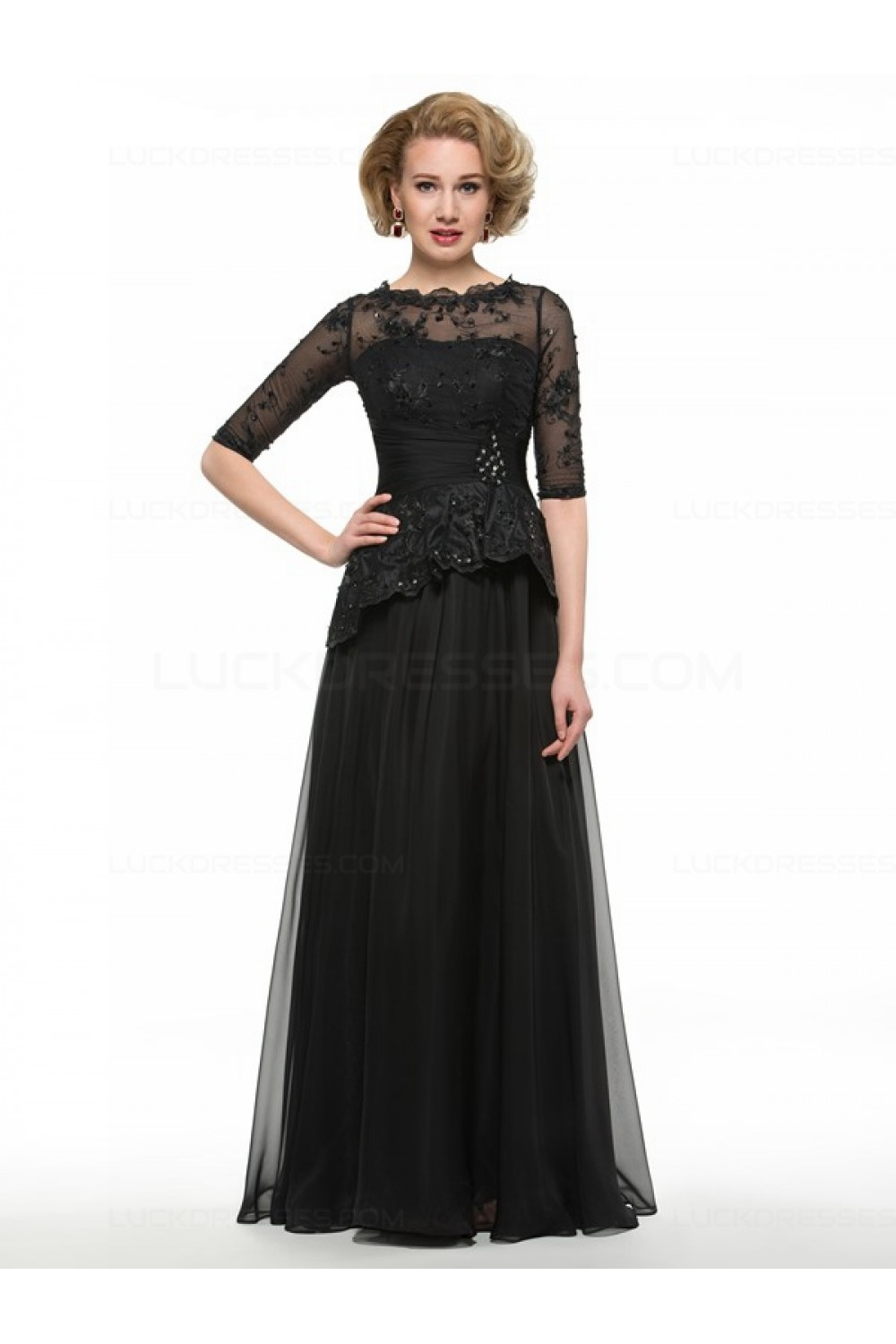 Long Black 3 4 Length Sleeves Lace Chiffon Mother Of The