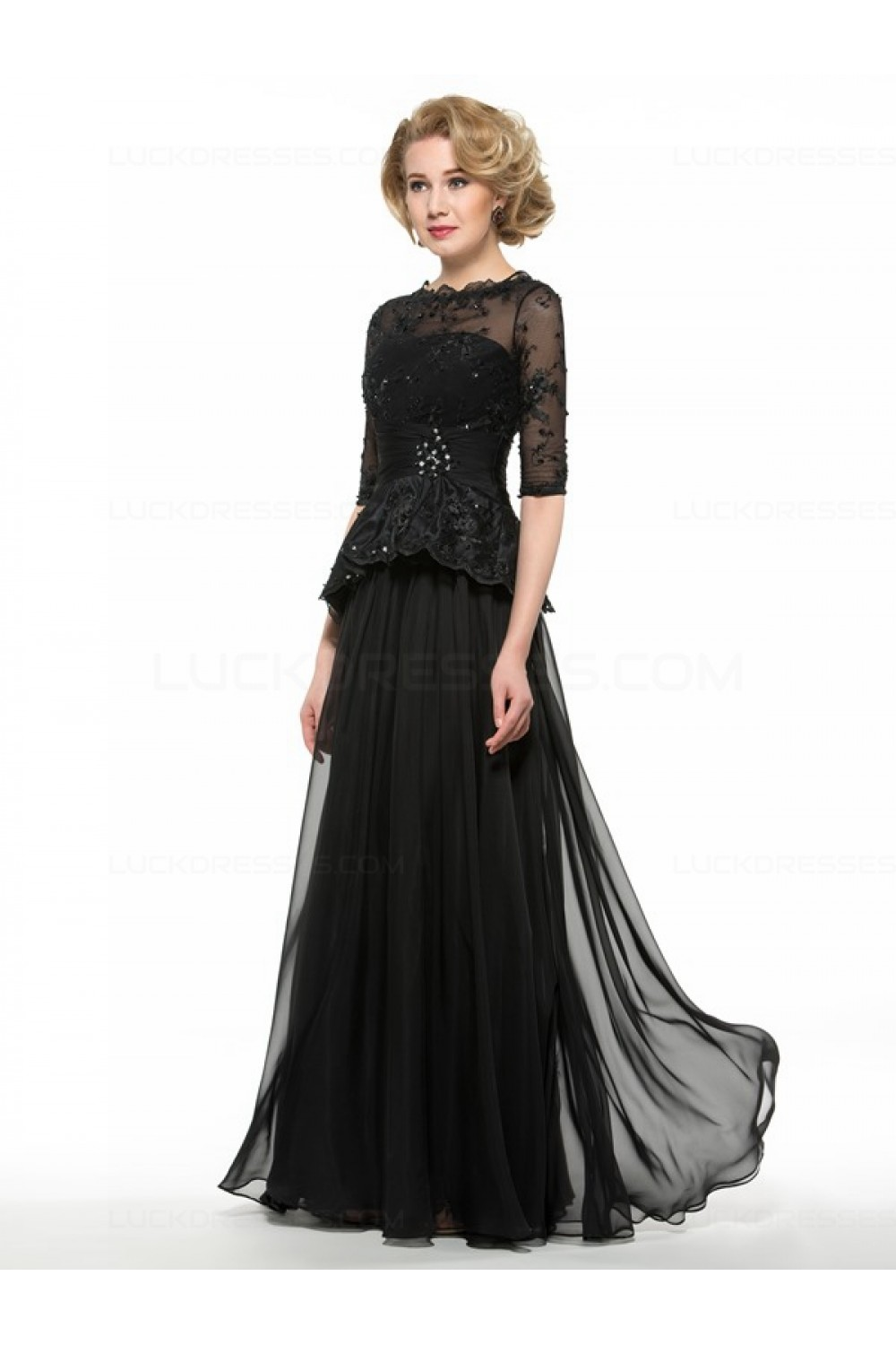 Long Black 3/4 Length Sleeves Lace Chiffon Mother of The ...