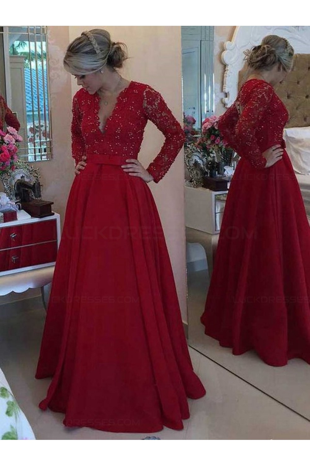 Long Red Long Sleeves Low V Neck Lace Long Mother Of The