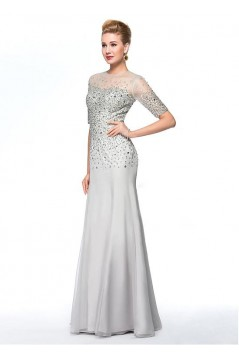 Beaded Jewel Neckline Long Mother of The Bride Dresses 602006