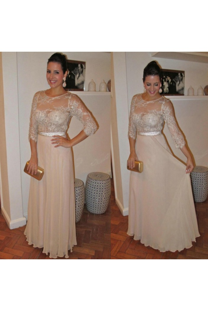 3/4 Length Sleeves Chiffon Lace Mother of The Bride and Groom Dresses 602101