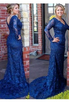 Mermaid Long Sleeves Lace V-Neck Mother of The Bride Dresses 602103