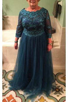 3/4 Length Sleeves Tulle Plus Size Mother of The Bride Dresses 602107