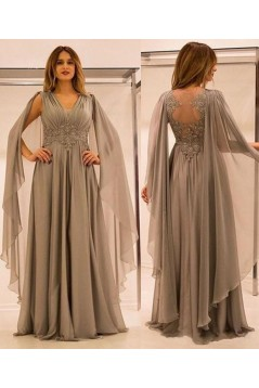 Long Chiffon Mother of The Bride Dresses with Lace Appliques 602113