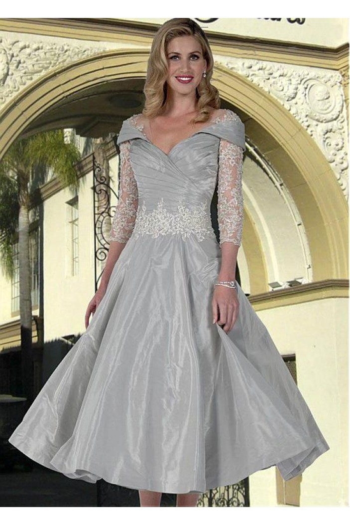 A-Line V-Neck Mother of The Bride Dresses with Lace Appliques 602128
