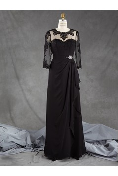 3/4 Length Sleeves Long Black Chiffon Lace Mother of The Bride Dresses 602164