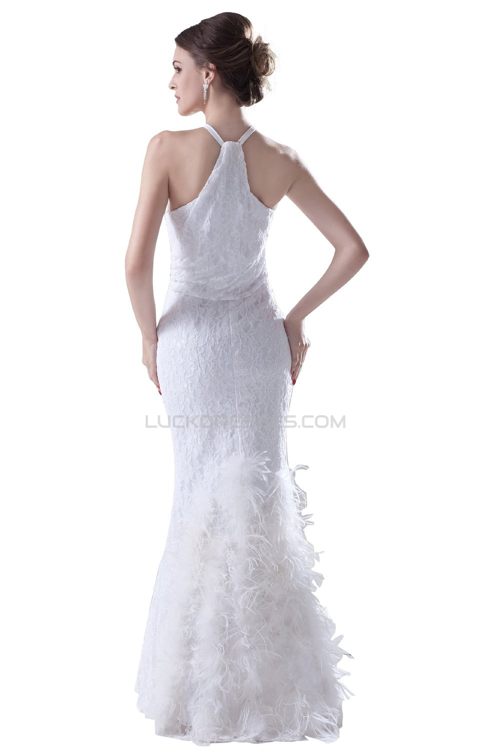 Modest Trumpet Mermaid Sleeveless Floor Length Lace