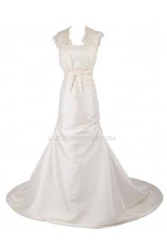 A-line Chapel Train Lace Wedding Dresses WD010006