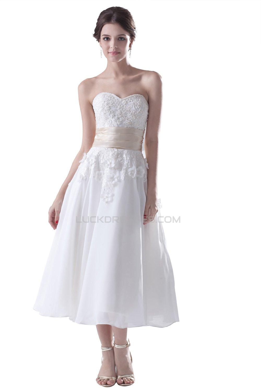 A-line Sweetheart Tea-Length Wedding Dresses WD010012