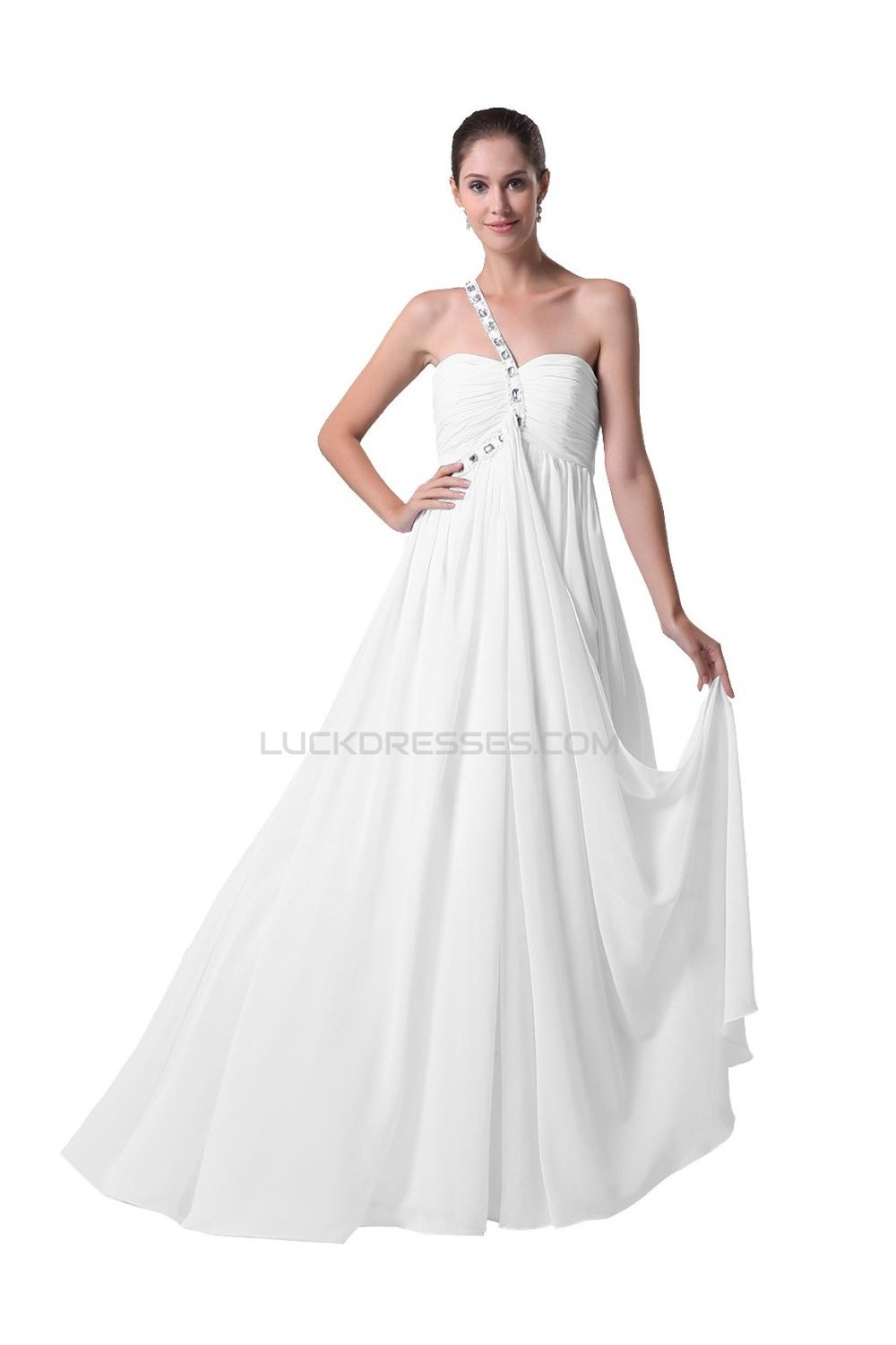 Sheath/Column One Shoulder Chiffon Wedding Dresses WD010025