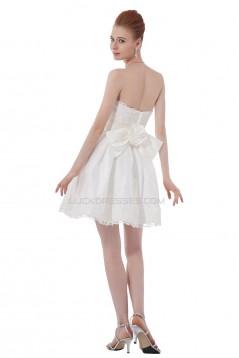 Short/Mini Strapless Lace Wedding Dresses WD010030