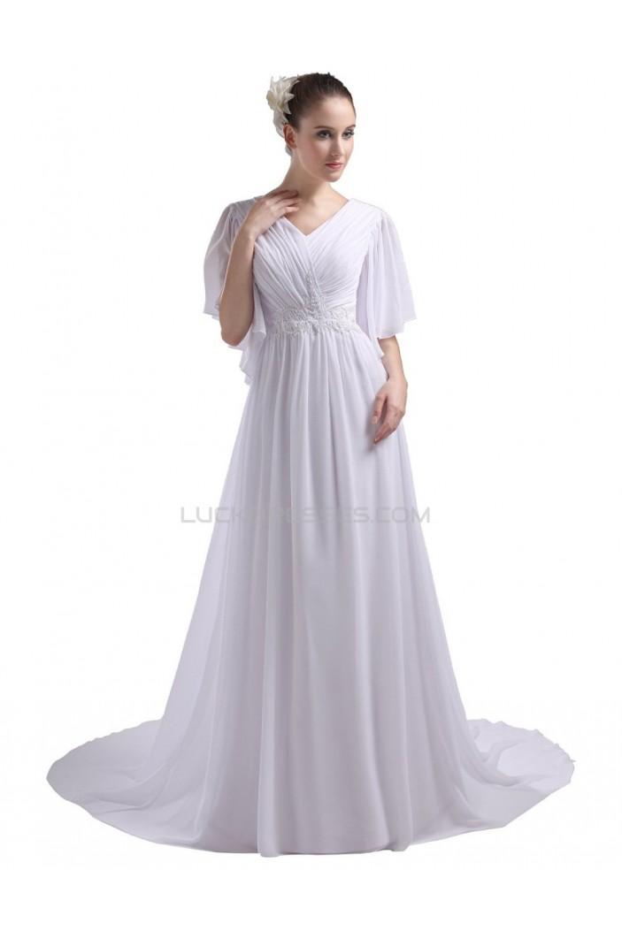 A Line Short Sleeves Chapel Train Chiffon Wedding Dresses Wd010031