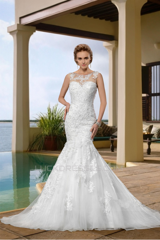 aedd583eb1 Trumpet Mermaid Sweetheart Court Train Beaded Lace Wedding Dresses WD010042