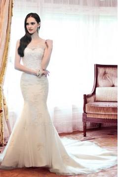 Trumpet/Mermaid Sweetheart Court Train Lace Wedding Dresses WD010043