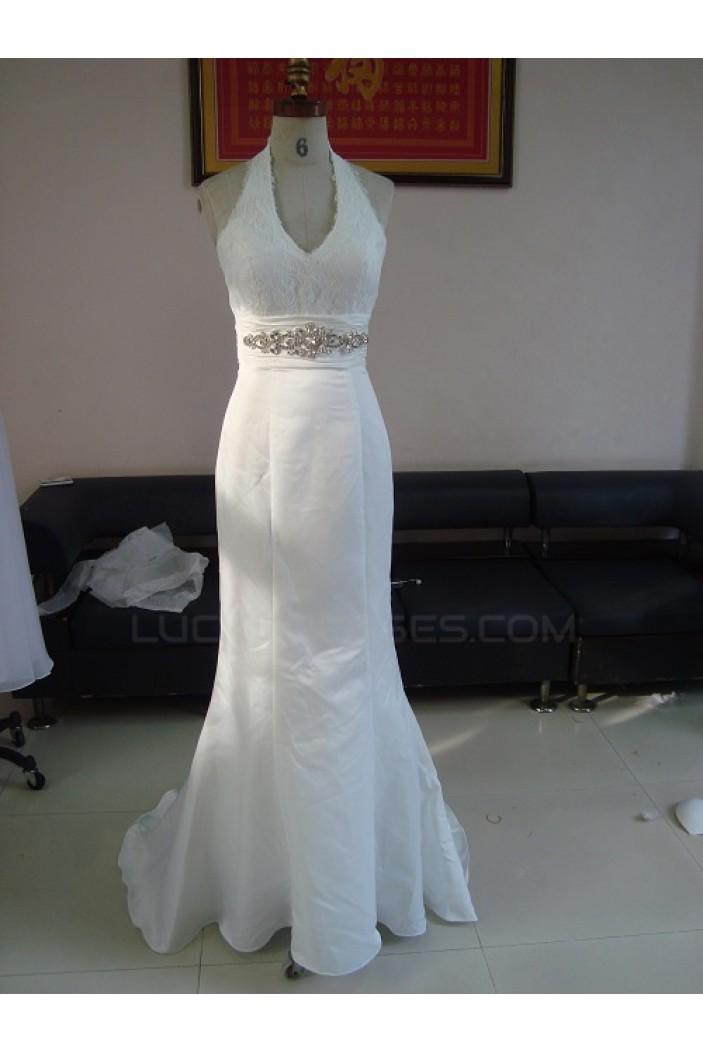 trumpetmermaid halter lace bridal wedding dresses wd010048