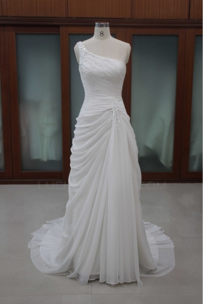 Sheath/Column One Shoulder Bridal Wedding Dresses WD010103