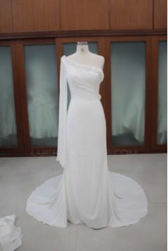 Sheath/Column One Shoulder Chiffon Bridal Wedding Dresses WD010113