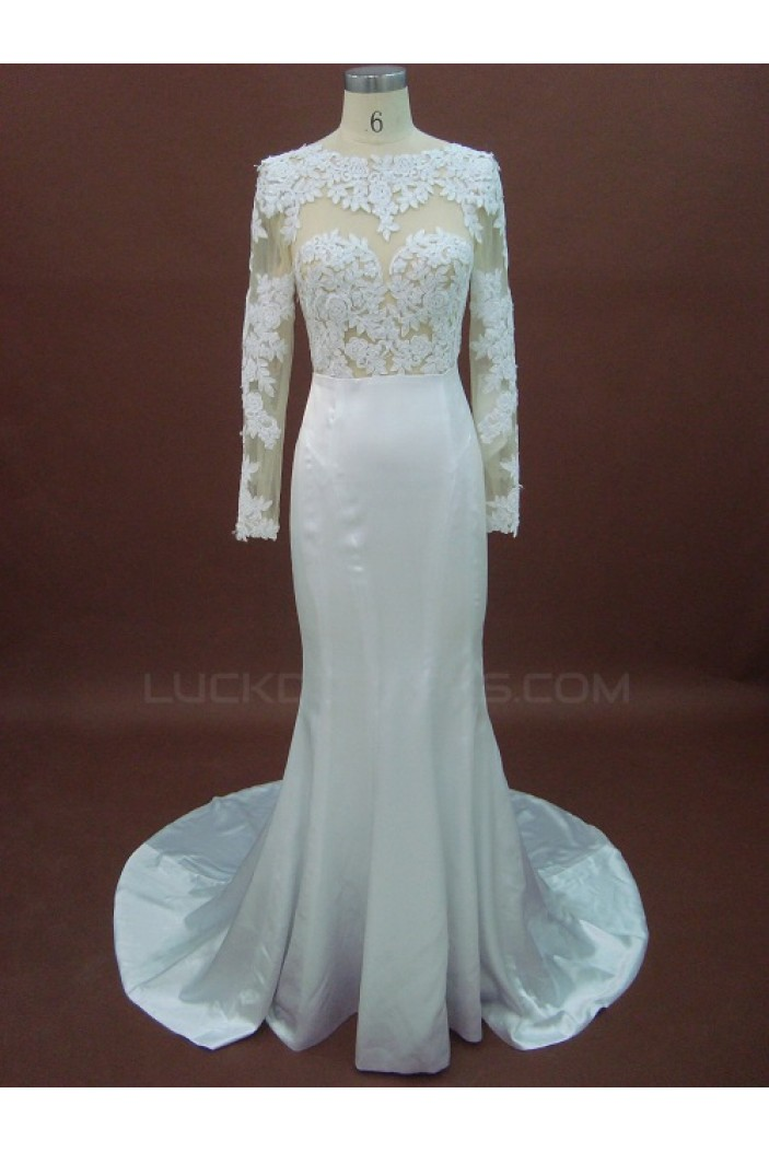 Trumpet/Mermaid Long Sleeves Lace Bridal Wedding Dresses WD010151