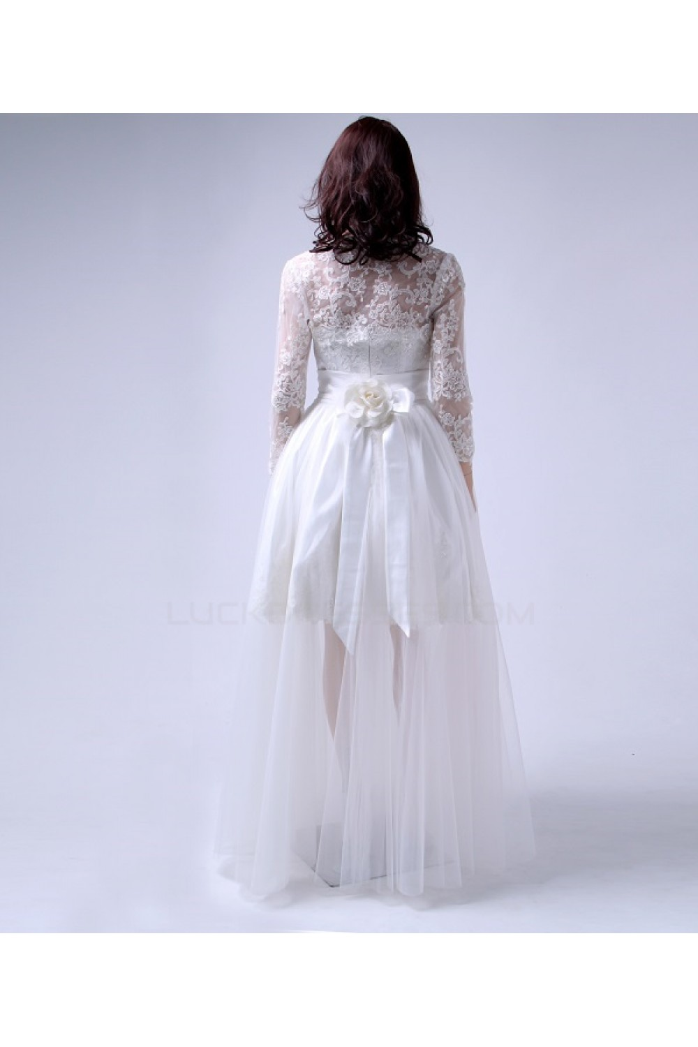 Cheap Short Bridal Wedding Dresses with A Lace Jacket and