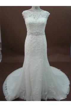 Elegant Trumpet/Mermaid Court Train Lace Bridal Wedding Dresses WD010161