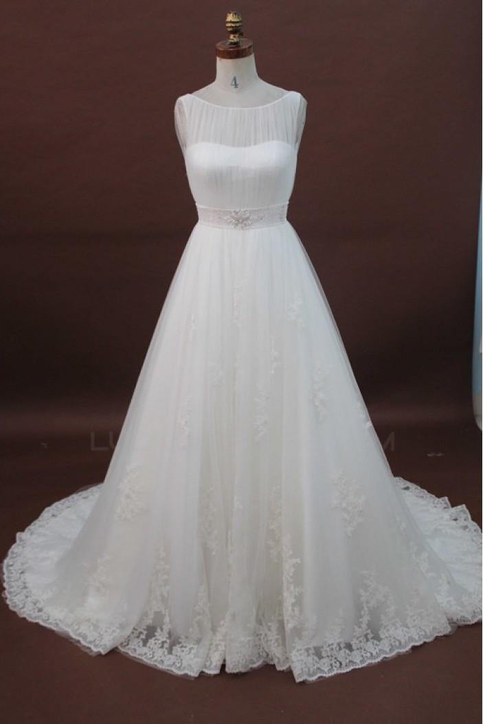A-line Chapel Train Beaded Lace Bridal Wedding Dresses WD010178