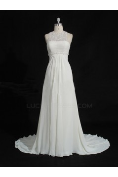 Sheath/Column Sweep Train Chiffon and Lace Bridal Wedding Dresses WD010211