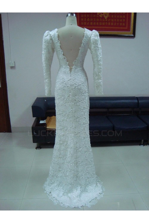 Trumpet/Mermaid Long Sleeves V-neck Low V-back Lace Bridal Wedding ...