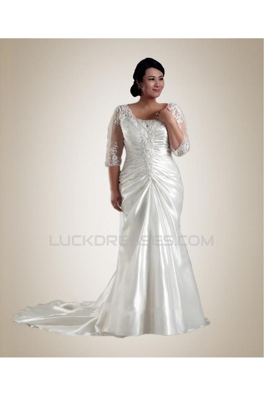 Trumpet/Mermaid Half-Sleeve Plus Size Bridal Wedding Dress WD010239