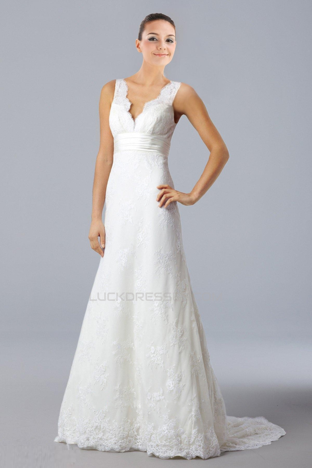 Trumpet/Mermaid V-neck Court Train Lace Bridal Gown WD010264
