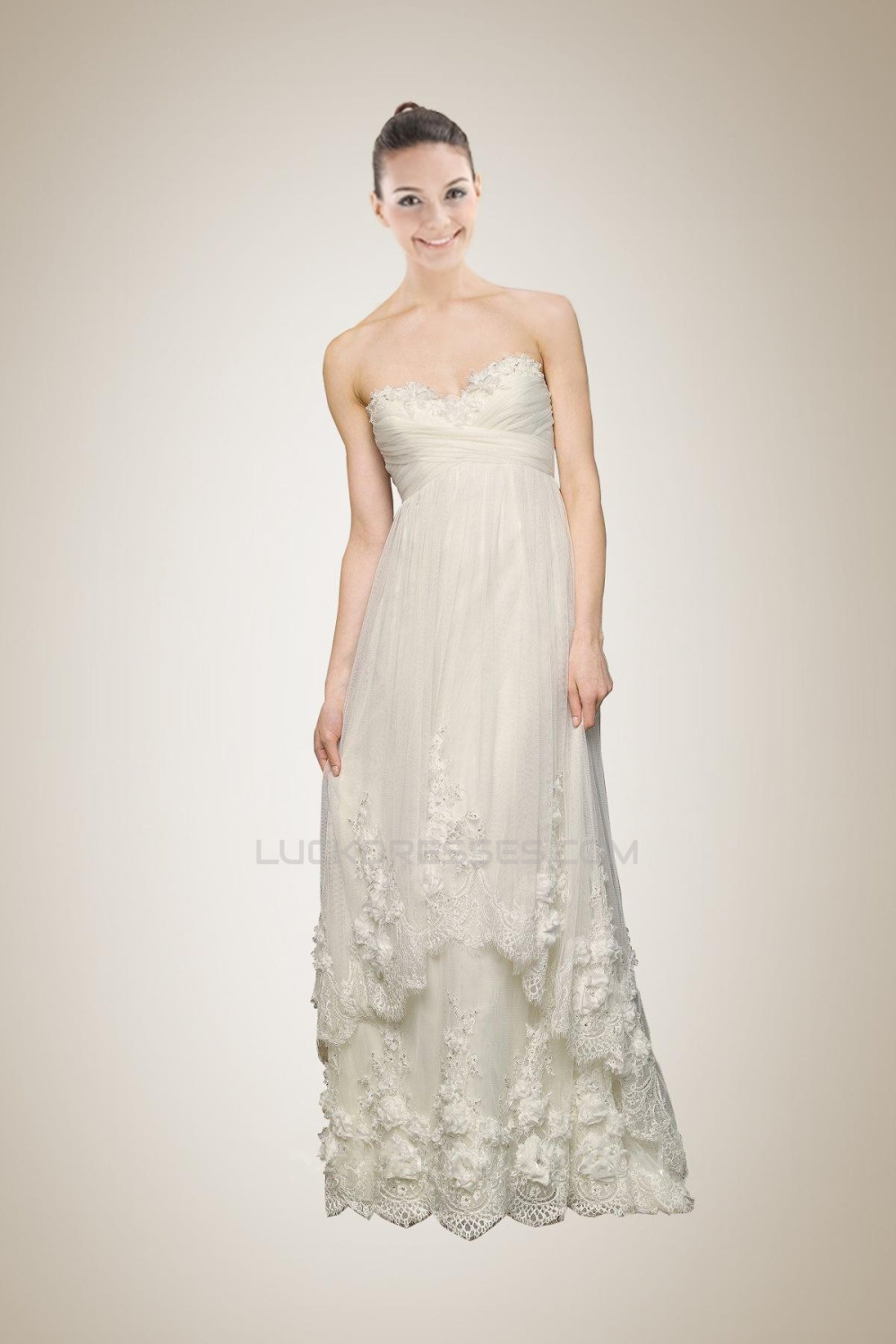 Empire Sweetheart Court Train Lace Bridal Gown Maternity Dresses ...