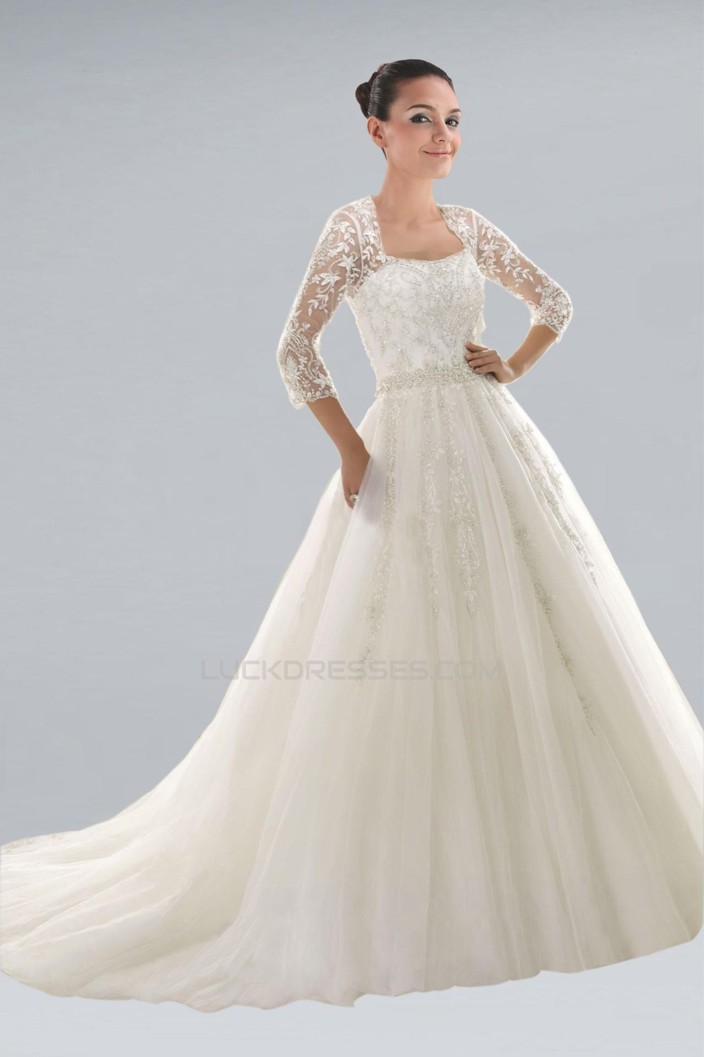 Elegant A-line 3/4 Sleeves Lace Beaded Bridal Gown WD010272