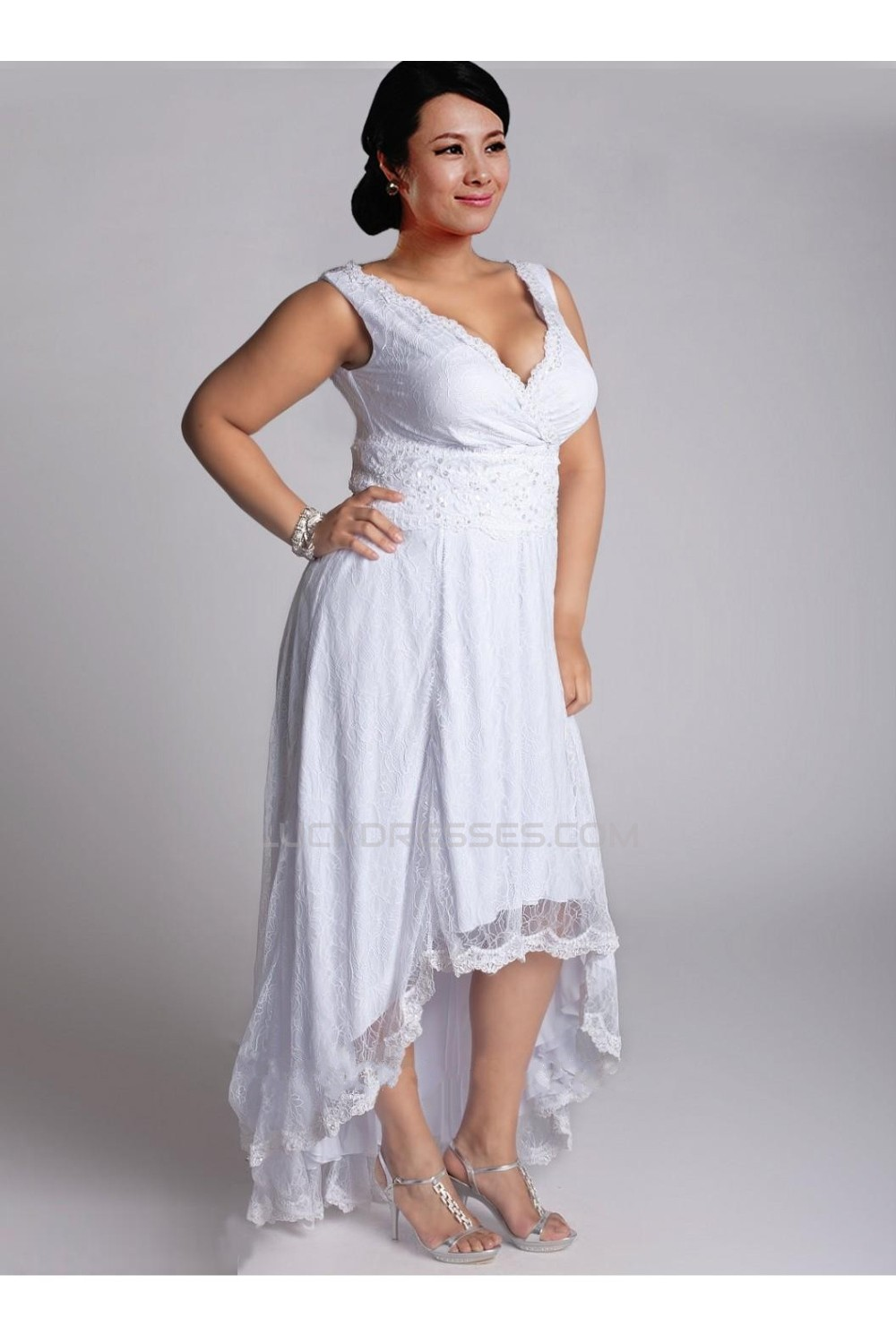 High Low Straps Lace Plus Size Bridal Gown WD010277