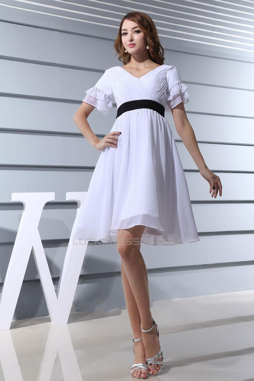 A Line V Neck Short Sleeves Short Chiffon Bridal Wedding Dresses