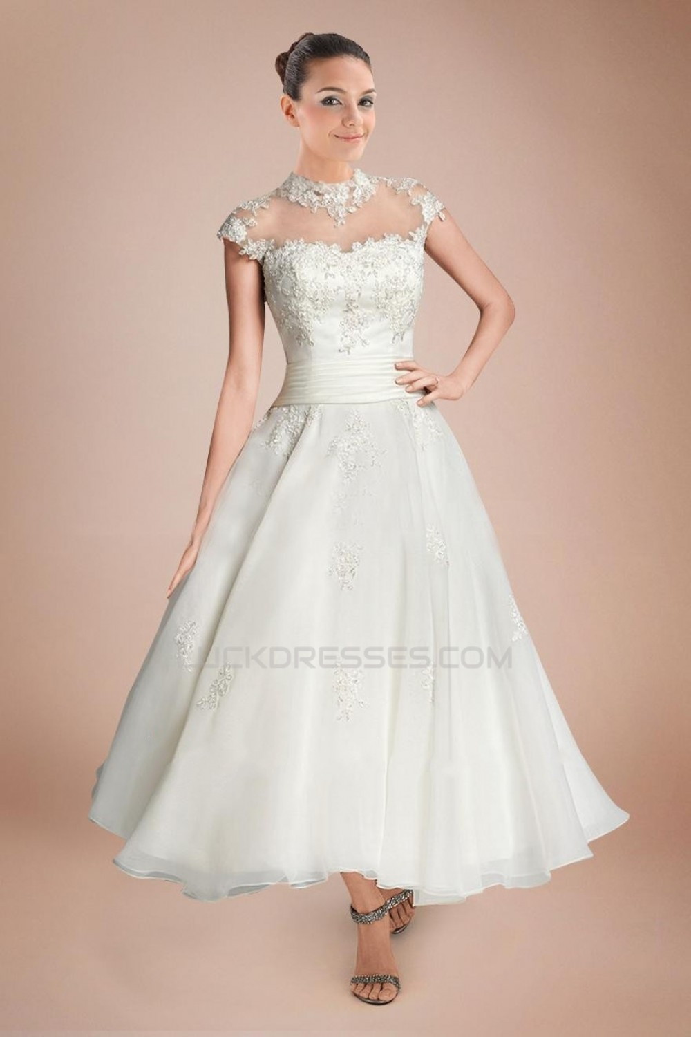 A Line Short Sleeves Tea Length Lace Bridal Wedding Dresses Wd010290