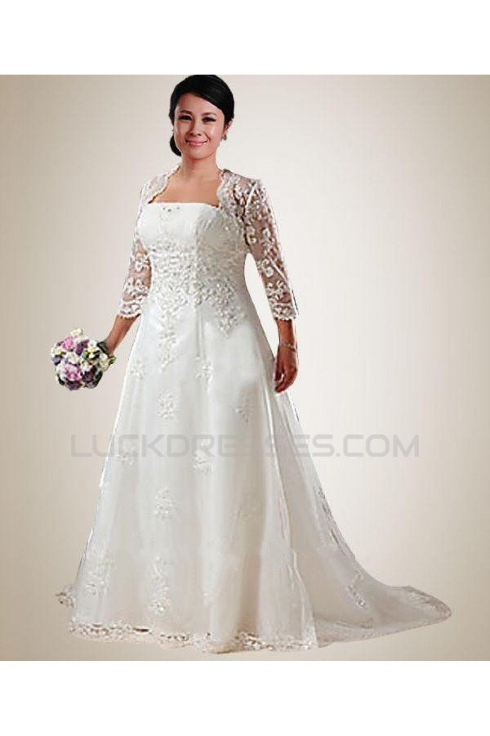 A-line Court Train 3/4 Sleeves Lace Plus Size Bridal Wedding Dresses ...