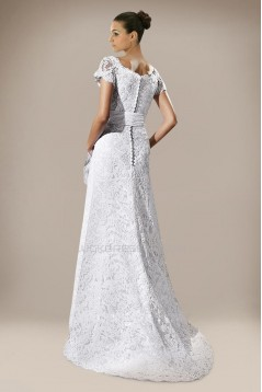 Elegant Short Sleeves Lace Bridal Wedding Dresses WD010295