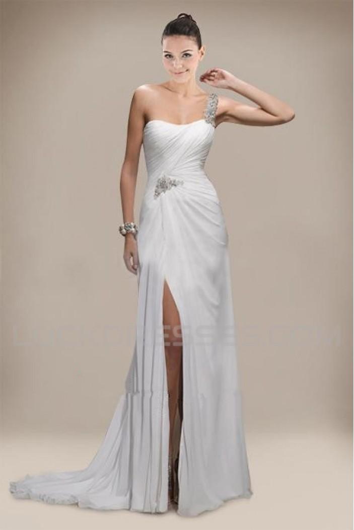 Sheath/Column One Shoulder Beaded Chiffon Bridal Wedding Dresses WD010303