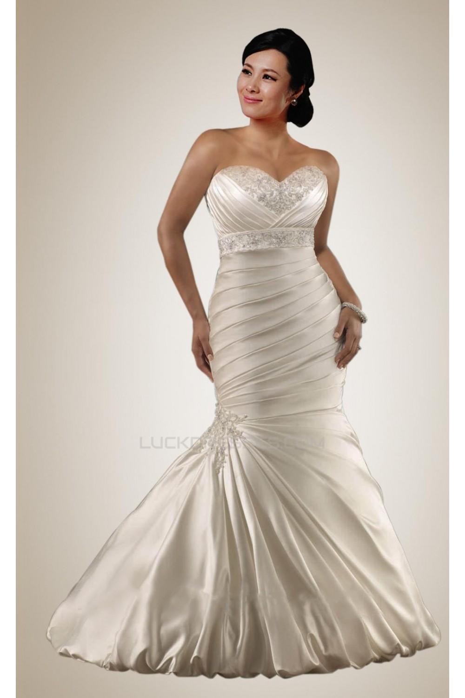 Trumpet/Mermaid Sweetheart Beaded Plus Size Bridal Wedding Dresses WD010307