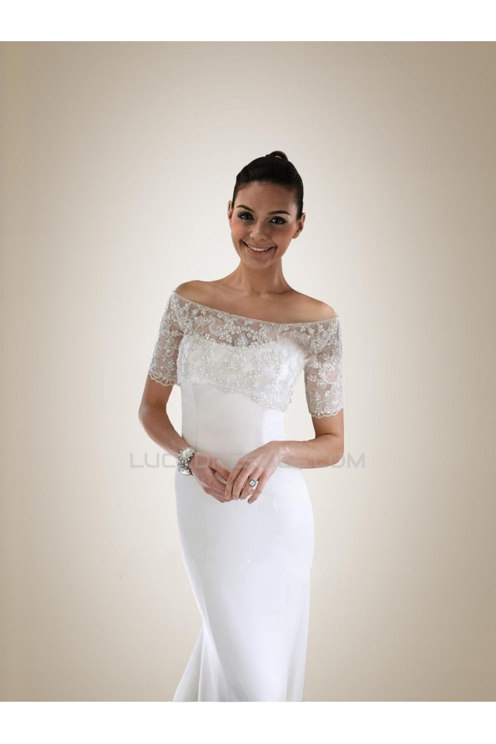 a091504d99e09 Trumpet/Mermaid Off the Shoulder Short Sleeves Lace Bridal ...
