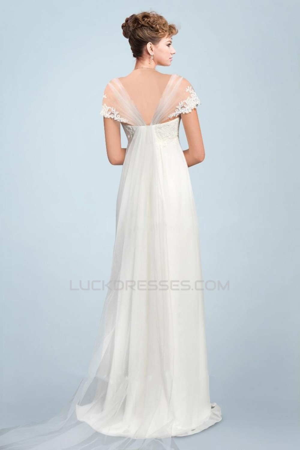 Empire Off the Shoulder Chiffon and Lace Bridal Maternity Wedding ...