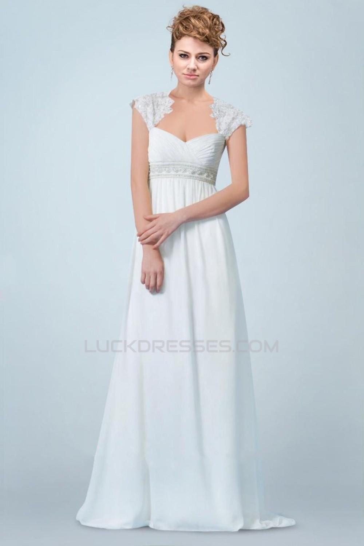 Empire Beaded Lace and Chiffon Maternity Bridal Wedding Dresses WD010341