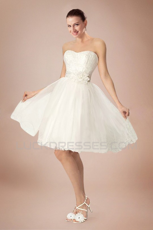 A-line Strapless Short Bridal Wedding Dresses WD010342