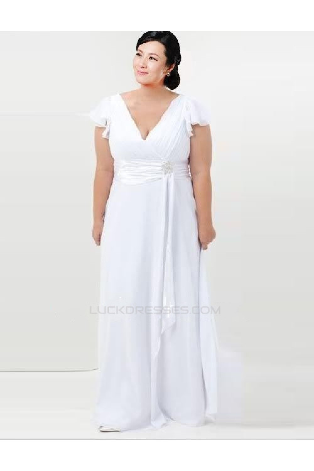 Sheath/Column V-neck Chiffon Plus Size Bridal Wedding ...