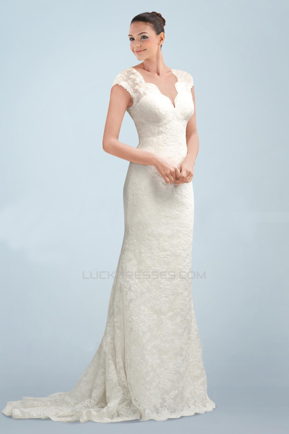 Elegant V-neck Short Sleeves Lace Bridal Wedding Dresses WD010380